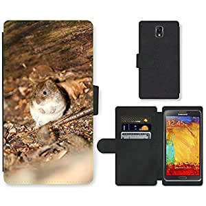 Super Stella Cell Phone Card Slot PU Leather Wallet Case // M00149476 Wood Mouse Mouse Nature Animal // Samsung Galaxy Note 3 III N9000 N9002 N9005