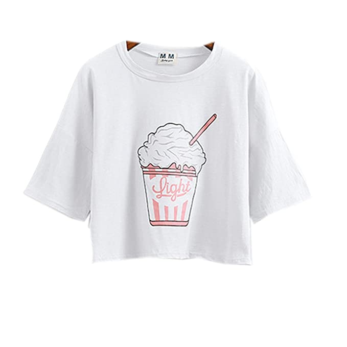 e05640eb82d8e Image Unavailable. Image not available for. Color  Harajuku Pastel White  Crop Tops Tees Cute Ice Cream ...