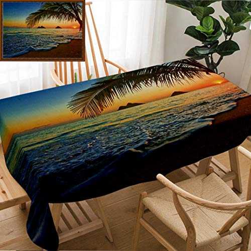 Unique Custom Design Cotton and Linen Blend Tablecloth Hawaiian Pacific Sunrise at Lanikai Beach Hawaii Colorful Sky Wavy Ocean Surface Scene OraTablecovers for Rectangle Tables, Small Size 48