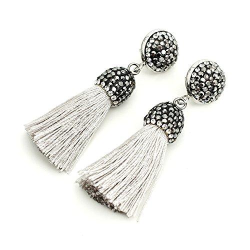 (Women's Dangle Drop Short Tassel Earrings with Shell Pearl Black Rhinestone Top (Light Gray with Rhinestone))