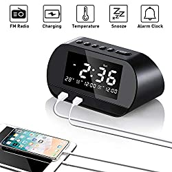 Alarm Clock Radio Digital FM with LCD Screen, USB Clock Charger Portable with 2 Charging Ports, Dual Alarms Clock with Snooze Sleep Timer for Home Bedroom Bedside Desk Office Travelling