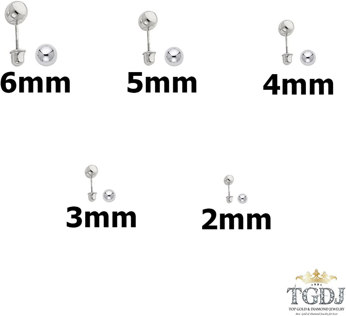 Simple Dainty 14K White Gold Hollow Ball Safety Screw Back Earrings Sizes 2mm 6mm