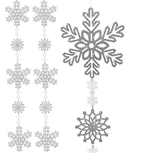 BANBERRY DESIGNS Snowflake Garland - Set of 2 - Large Silver Snowflake Banner - 4 1/2