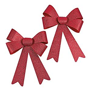 """Jumbo Red Glitter Christmas Bows - 2 Pieces Per Unit and Measure 11"""" X 17""""."""