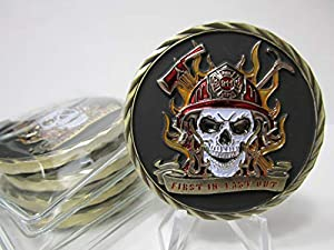 Lot of 5 3D Firefighter Fireman First Responder First in Last Out 911 Skull Challenge Coins by OWT