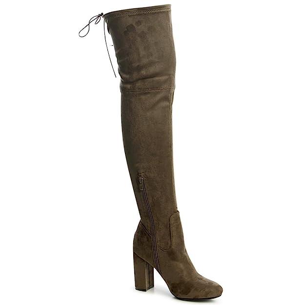 topschuhe24 1287 Damen Overknee Stiefel Velours Blogger Style Stretch