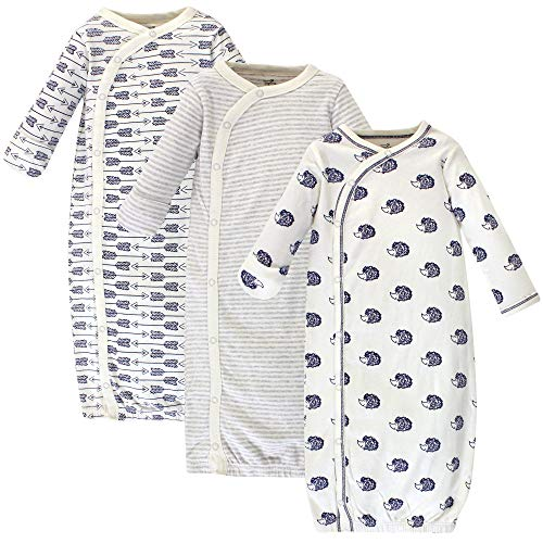Touched by Nature Baby Organic Cotton Kimono Gowns, Hedgehog 3-Pack, 0-6 Months