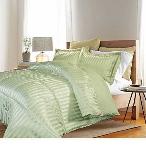3 Piece Full Queen Sage Green Damask Stripe Comforter Set, Fancy Luxury Bedding, Classic & Traditional Style, Microfiber Polyester Material, Reversible , Machine Washable, Light Green