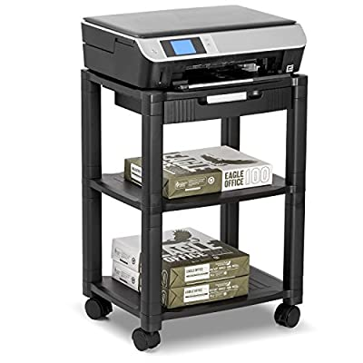 Halter LZ-308 Rolling Printer Cart Machine Stand with Cable Management - Holds Up To 75 Pounds (Black)