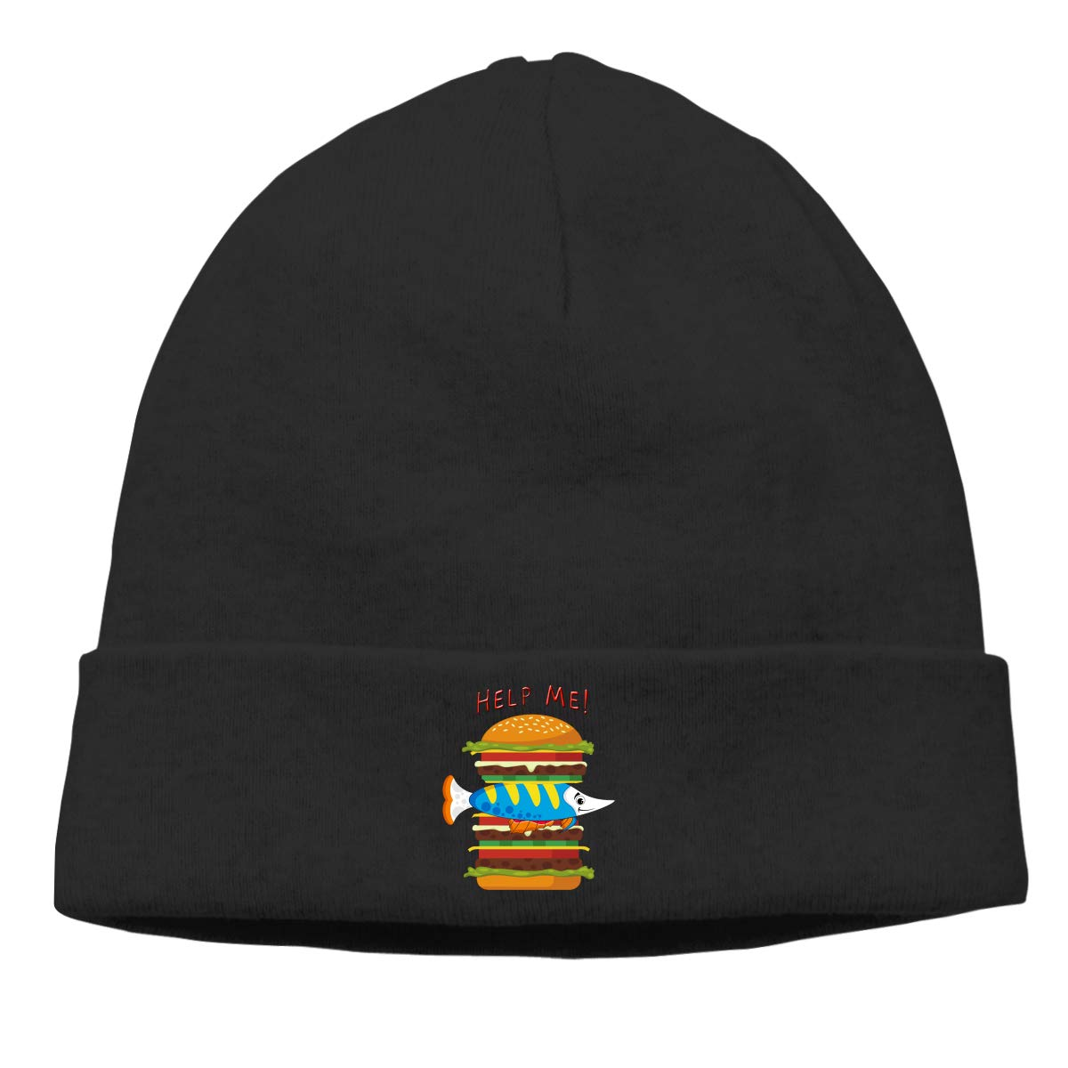 nordic runes Fish Hamburger Help Me Beanie Hat Winter Warm Knit Skull Cap  for Mens Womens at Amazon Men s Clothing store  fb3cf58d6252