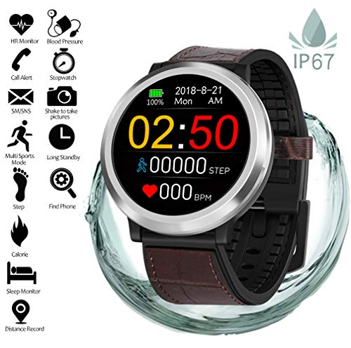 Fitness Tracker with Heart Rate Monitor Blood Pressure Sleep Monitor Calorie Bluetooth Smartwatch Activity Tracker Sports Bracelet IP68 Waterproof Pedometer Watch Wristband for Kids Women Men (Brown)