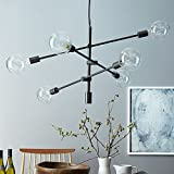 YOKA Pendant Light Matte Black Contemporary Stem Hung Chandelier Fixture Modern Lamp 6 Lights Hanging Flush Mount (Black)