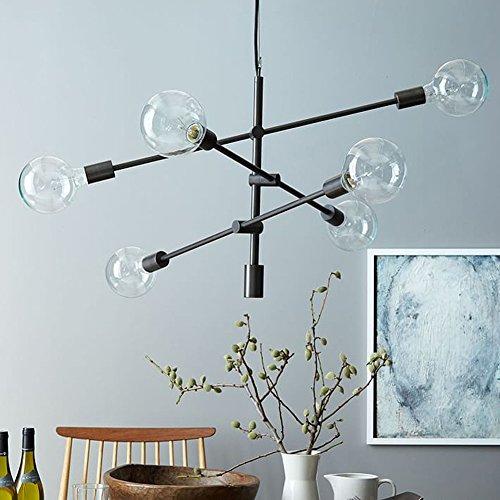 YOKA Pendant Light Matte Black Contemporary Stem Hung Chandelier Fixture Modern Lamp 6 Lights Hanging Flush Mount (Black) (Contemporary Pendant Chandelier)