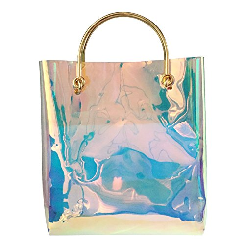 Flada, Borsa tote donna blu Hologram medium