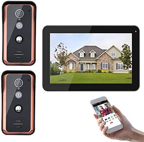 2 X 1000TVL有線IR-CUTカメラナイトビジョン、サポートリモートAPPインターホン、ロック解除、録音、スナップショットと9インチのWifiのビデオドア電話ドアベルインターホンエントリーシステム