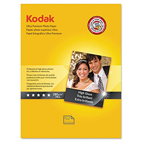 "Kodak Ultra Premium Photo Paper for inkjet printers, Gloss Finish, 10.7 mil thickness, 25 sheets, 8.5"" x 11"" (Premium Inkjet Photo Paper)"