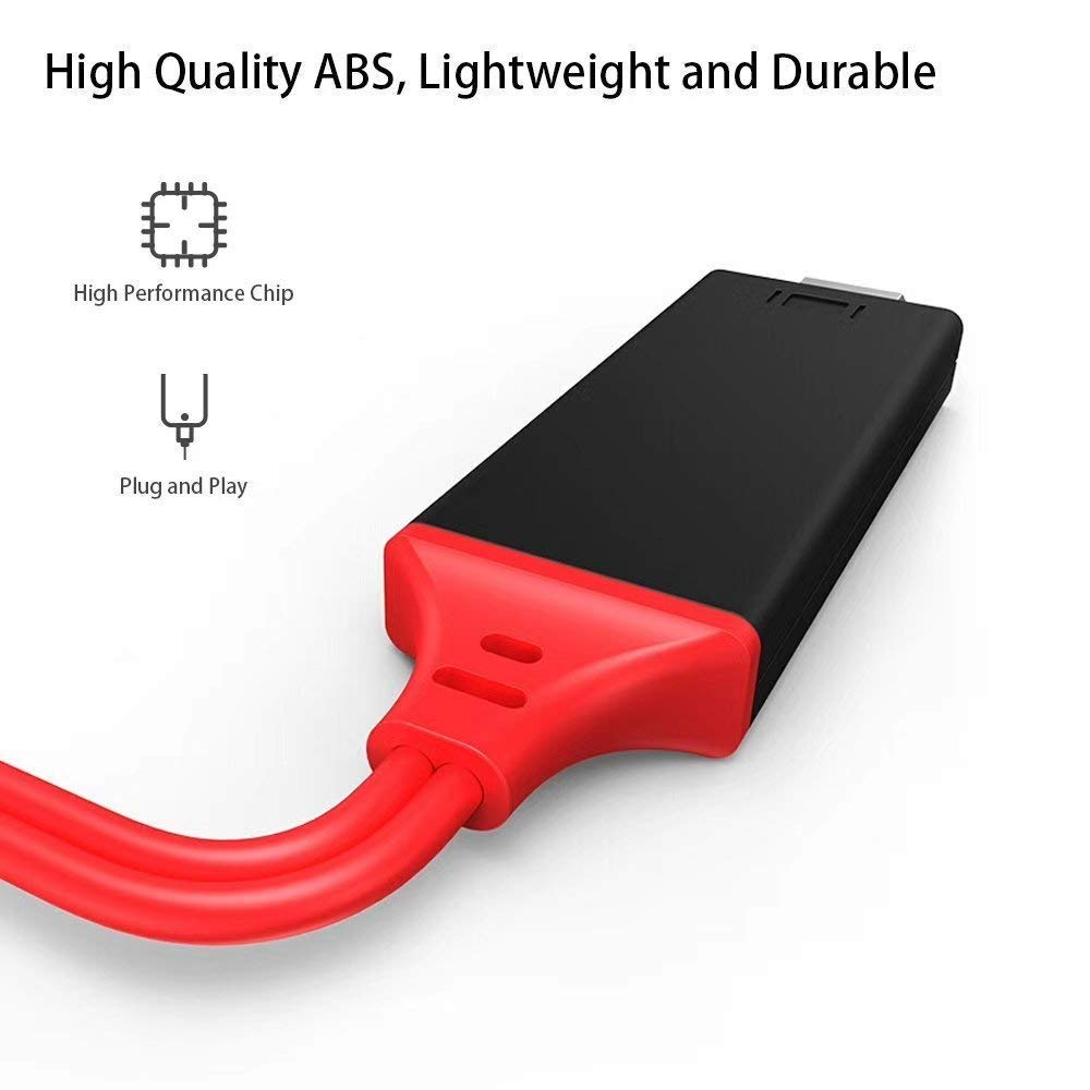 6.6ft//Red Plug and Play Compatible with Phone to HDMI Adapter Cable DSTHISAR HDMI Digital AV Adapter 1080P HDTV Cord Converter for Phone Xs Max XR X 8 7 6 Plus Pad Pro Air Mini Pod