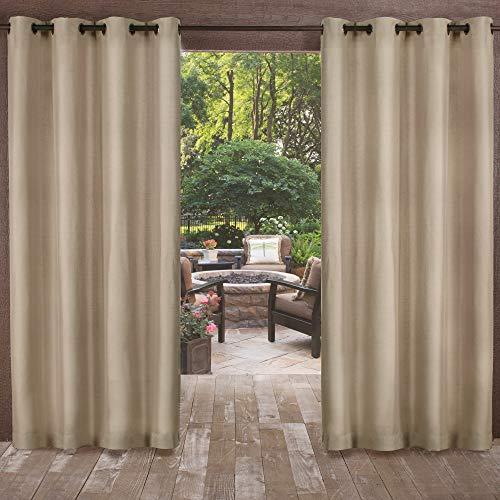 "120""x54"" Biscayne Grommet Top Light Filtering Window Curtain Panels Brown - Exclusive Home"