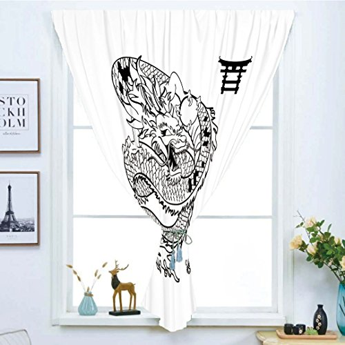 Blackout Curtain Free Punching Magic Stickers Window Curtain,Japanese Dragon,Tattoo Art Style Mythological Dragon Figure Monochrome Reptile Design,Black White,for Living Room Bedroom, study, kitchen,