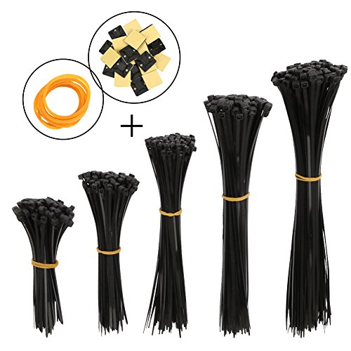Hapdoo Black Nylon Cable Zip Ties Cable Tie Cable Straps, 500 pack Nylon Cord Management With Cable Tie Mount Base Holder and Rubber Bands for Office, Home and Cars (5 different Sizes) by Hapdoo