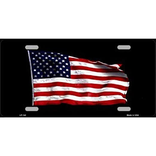 WAVING AMERICAN FLAG BLACK BACKGROUND METAL NOVELTY LICENSE PLATE TAG