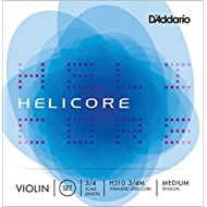 D'Addario Helicore Violin String Set, 3/4 Scale, Medium Tension