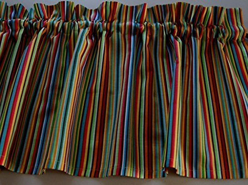 Multi-color Stripe Valance Curtain Window (Classroom Curtains)