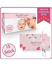 MediVinius Ovulationstest 15 Streifen - Fruchtbarkeitstest für Frauen - Teststäbchen für Ovulation Tests - Eisprung Teststreifen - praktisches Eisprung Messgerät LH Teststreifen
