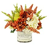 Creative Displays Orange & Cream Harvest Floral Hydrangeas, Green Wheat & Green Pears with French Label Cylinder Glass Container