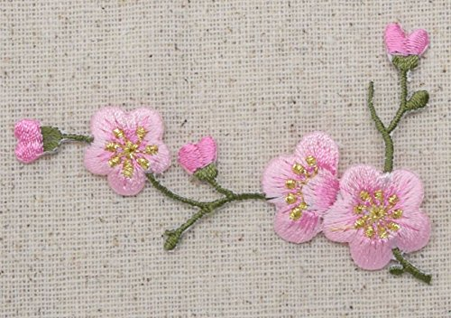 Cherry Blossom - Pink Flowers - Green Stem - LEFT - Iron on Applique - Embroidered Patch
