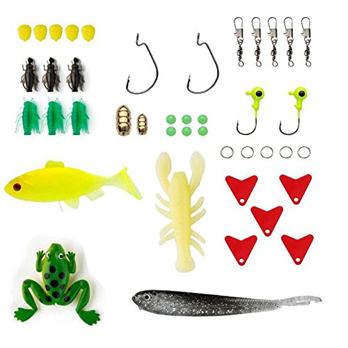 Fishing Lures. 77-Pcs Fishing Lures Kit Set For Bass,Trout,Salmon,Including Spoon Lures ,Soft Plastic worms, CrankBait,Jigs,Topwater Lures (with Free Tackle Box)-by Saimanqiu
