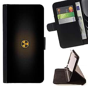 For Samsung Galaxy S6 Case , Advertencia Negro minimalista sesión- la tarjeta de Crédito Slots PU Funda de cuero Monedero caso cubierta de piel