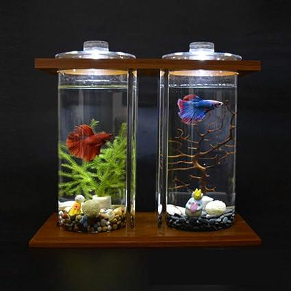 Tanque de peces que lucha tanque de peces tanque de peces de colores acuario creativo bambú madera ecológico tanque de peces de escritorio mini tanque de ...