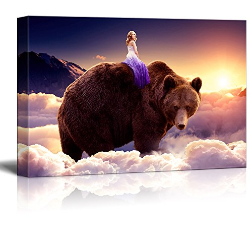 Fantasy Series Girl Riding on the Back of a Bear with Clouds Gallery