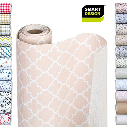 Smart Design Shelf Liner w/Bonded Grip - Wipes Clean - Cutable Material - Non Slip Design - for Shelves, Drawers, Flat Surfaces - Kitchen (12 Inch x 10 Feet) [Chantilly Blush]
