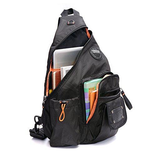 DDDH 13.3-Inch Sling Bag Riding Hiking Bag Single Shoulder Backpack For Men Women(Grid black)