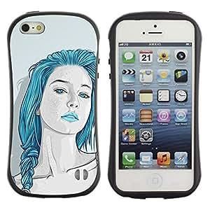 Suave TPU Caso Carcasa de Caucho Funda para Apple Iphone 5 / 5S / Beautiful Blue Hair Girl Sensual Lips / STRONG
