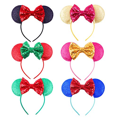 Cute Mickey Mouse Ears Headband Hoop Hair Accessories Headdress Hair Accessories Bow Boys Girls Birthday Party Hairs Accessories Baby Shower Headwear Halloween Party Favors Decorations (6Pcs)