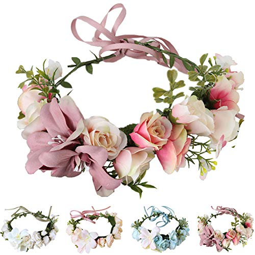 - Handmade Adjustable Flower Wreath Headband Halo Floral Crown Garland Headpiece Wedding Festival Party