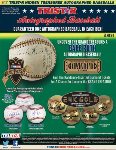 2016 Tristar Hidden Treasures Series 8 Autographed Baseball box Hidden Treasures Box