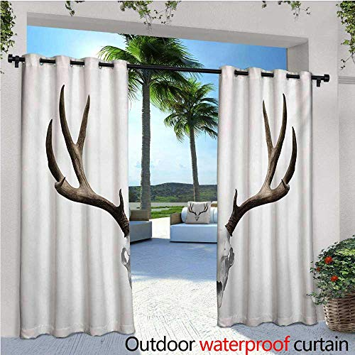 Antlers Outdoor Privacy Curtain for Pergola A Deer Skull Skeleton Head Bone Halloween Weathered Hunter Collection Thermal Insulated Water Repellent Drape for Balcony W96