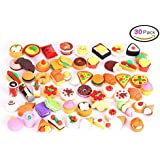 30 PCs Joanna Reid Collectible Set of Adorable Puzzle Kitchen Food Cake Dessert Erasers Value Pack - No Duplicates - Puzzle Toys Best for Party Favors,Classroom Rewards