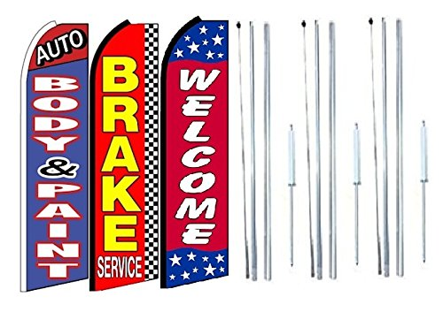 Pack of 3 Auto Body /& Paint Brake Service Welcome King Swooper Feather Flag Sign Kit with Complete Hybrid Pole Set