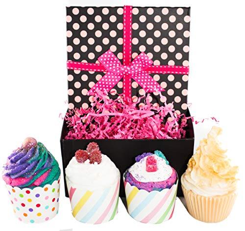 Sugar Coated Cupcake - Fast Shipping, Kids ((Mermaid, Unicorn, Cupcake)) Bubble Bath Bomb Fizzy & Soap Gift Set - In Cute Gift Box - 4 Premium Cupcakes - Gift for Girls Teens (Cupcakes)