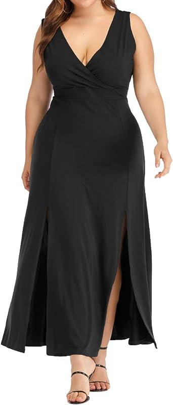 ARTFFEL Womens Vintage Plus Size Deep V Neck Lace Strapless Cocktail Party Midi Dress