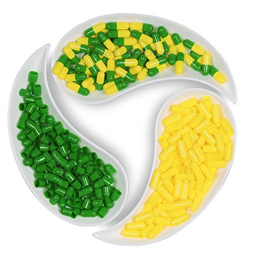 CapsulCN. Empty Gel Caps Empty Gelatin Capsules, 2,000pcs, Size 00,Apple Green and Yellow,Separated