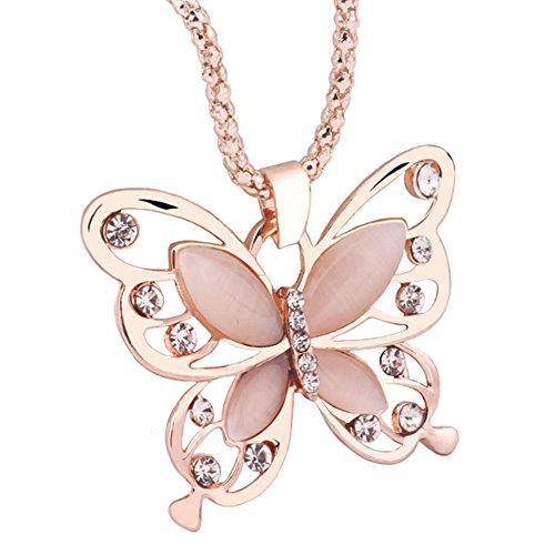 SPHTOEO Fashion Women Girls Rose Gold Opal Butterfly Pendant Necklace Sweater Chain