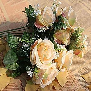 XGM GOU 10Pcs/Lot DIY Rose Artificial Flower Heads Bride Bouquet Silk Flower Wedding Arch Flower Arrangement Accessories 8.5Cm Dia 2
