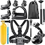 Neewer 8-In-1 Action Camera Accessory Kit for GoPro Hero 1/2/3/3+/4/5/6, Hero 4/5 Session, SJ4000/5000 Nikon and Sony Sports Camera in Climbing Bike Riding Swimming Rowing Camping Diving and More