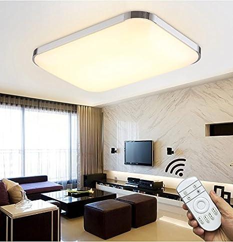 48W LED Deckenleuchte Deckenlampe Wohnzimmer Dimmbar mit Fernbedienung Eckig